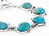 Turquoise Cabochon Rhodium Over Silver Bracelet