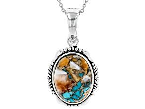 Turquoise With Spiny Oyster Shell Rhodium Over Silver Pendant W/ Chain