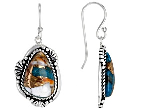 Turquoise Blended With Spiny Oyster Shell Rhodium Over Silver Earrings