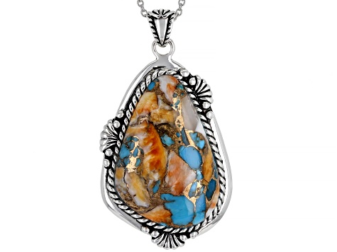 Kingman Turquoise With Spiny Oyster Shell Rhodium Over Silver Pendant W/ Chain
