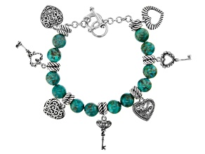 Turquoise Rhodium Over Sterling Silver Bead Charm Bracelet