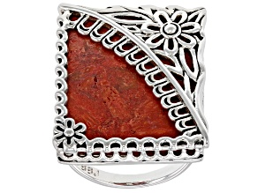 Red Sponge Coral Rhodium Over Sterling Silver Floral Ring