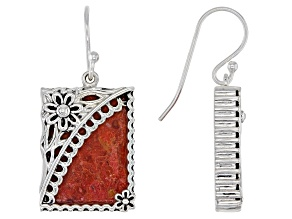 Red Sponge Coral Rhodium Over Sterling Silver Floral Earrings.
