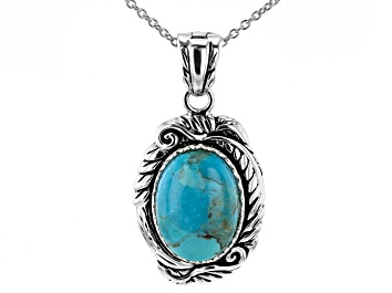 Picture of Turquoise Rhodium Over Silver Enhancer With 18