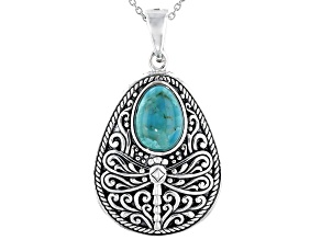 Turquoise Rhodium Over Silver Dragonfly Enhancer With 18