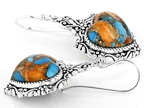 Blended Kingman Turquoise With Spiny Oyster Shell Rhodium Over Silver Earrings