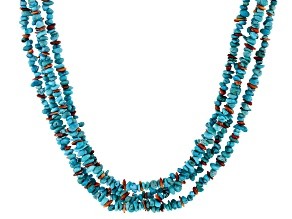Turquoise And Spiny Oyster Shell Sterling Silver Multi Strand Necklace