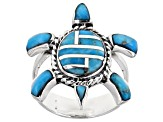 Turquoise Inlay Sterling Silver Turtle Ring