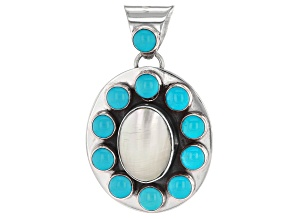 Sleeping Beauty Turquoise And Shell Sterling Silver Pendant