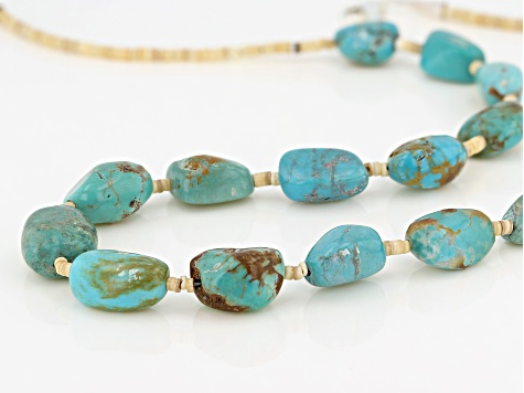 Turquoise Nugget And Heishi Shell Bead Sterling Silver Necklace