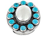 Sleeping Beauty Turquoise And Shell Sterling Silver Ring