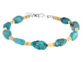 Turquoise Nugget And 3mm Heishi Shell Bead Sterling Silver Bracelet