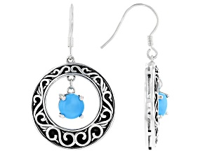 Sleeping Beauty Turquoise Rhodium Over Sterling Silver Earrings