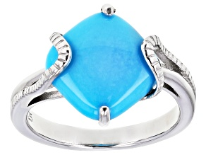 Sleeping Beauty Turquoise Rhodium Over Sterling Silver Solitaire Ring