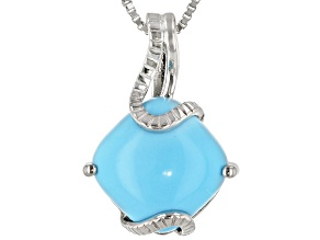 Sleeping Beauty Turquoise Rhodium Over Sterling Silver Pendant With 18