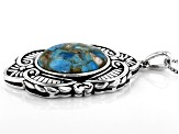 Southwest Style By JTV™ Blended Turquoise And Abalone Shell Rhodium Over Silver Pendant With Chain