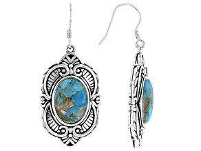 Blended Turquoise And Abalone Shell Rhodium Over Silver Earrings