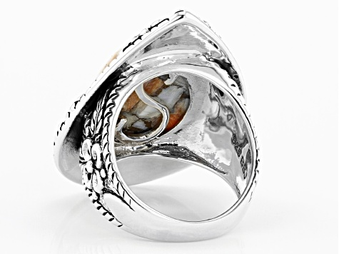 Orange Spiny Oyster Shell Rhodium Over Sterling Silver Solitaire Ring