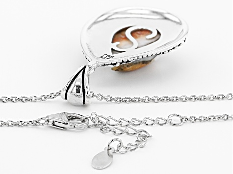Spiny Oyster Rhodium Over Sterling Silver Pendant With Chain