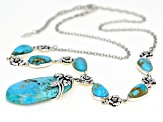 Turquoise Rhodium Over Silver Floral Necklace