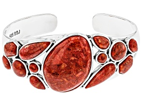 Red Sponge Coral Rhodium Over Silver Cuff Bracelet