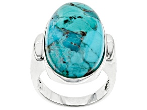 Turquoise Rhodium Over Sterling Silver Solitaire Ring