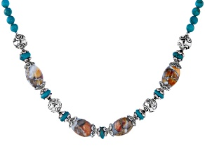 Spiny Oyster Shell And Turquoise Rhodium Over Silver Bead Necklace