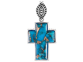 Spiny Oyster Shell & Kingman Turquoise Rhodium Over Silver Reversible Cross Enhancer