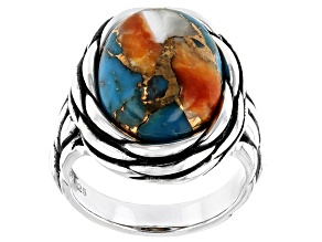 Kingman Turquoise Blended With Spiny Oyster Shell Rhodium Over Silver Ring