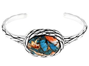 Blended Kingman Turquoise And Spiny Oyster Shell Rhodium Over Silver Cuff Bracelet