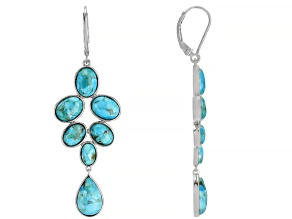 Turquoise Rhodium Over Sterling Silver Dangle Earrings