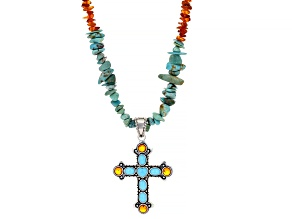 Turquoise And Amber Rhodium Over Silver Cross Enhancer With Necklace