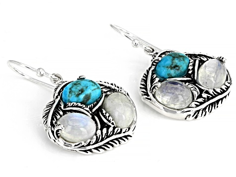 Turquoise And Rainbow Moonstone Rhodium Over Silver Dangle Earrings