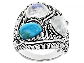 Turquoise And Rainbow Moonstone Rhodium Over Sterling Silver Ring