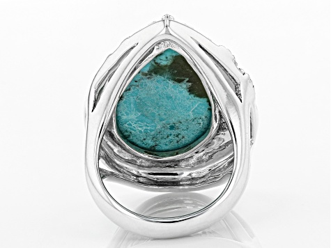 Turquoise Rhodium Over Silver Floral Solitaire Ring
