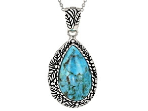 Turquoise Rhodium Over Sterling Silver Enhancer With 18