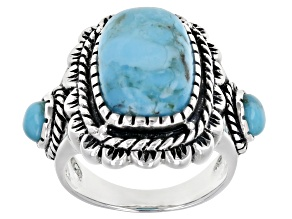 Turquoise Cabochon Rhodium Over Silver Ring