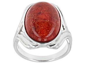 Red Coral Cabochon Rhodium Over Silver Solitaire Ring