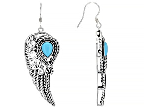 Sleeping Beauty Turquoise Rhodium Over Silver Feather Earrings