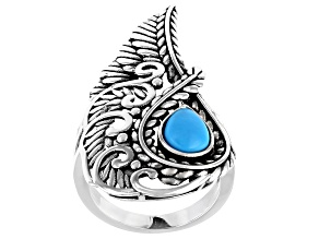 Sleeping Beauty Turquoise Rhodium Over Silver Solitaire  Ring