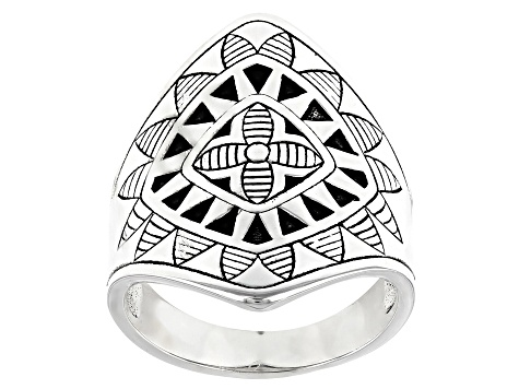 Rhodium Over Sterling Silver Tribal Flower Ring