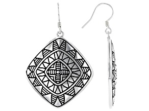 Rhodium Over Sterling Silver Tribal Earrings