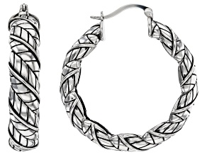 Rhodium Over Sterling Silver Wrapped Feather Hoop Earrings