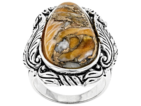Spiny Oyster Shell Rhodium Over Silver Solitaire Ring