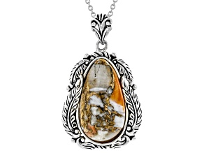 "Spiny Oyster Shell Rhodium Over Silver Pendant With 18"" Chain"