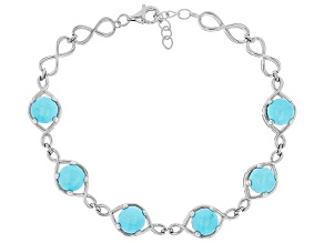 Sleeping Beauty Turquoise Rhodium Over Silver Bracelet