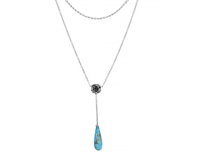 Turquoise Rhodium Over Silver Multi-Row Necklace