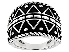 Rhodium Over Silver Tribal Design Ring