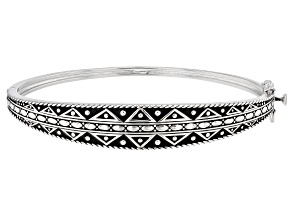 Rhodium Over Sterling Silver Tribal Design Bangle Bracelet