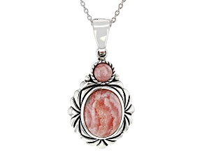 "Rhodochrosite Rhodium Over Silver Enhancer With 18"" Chain"
